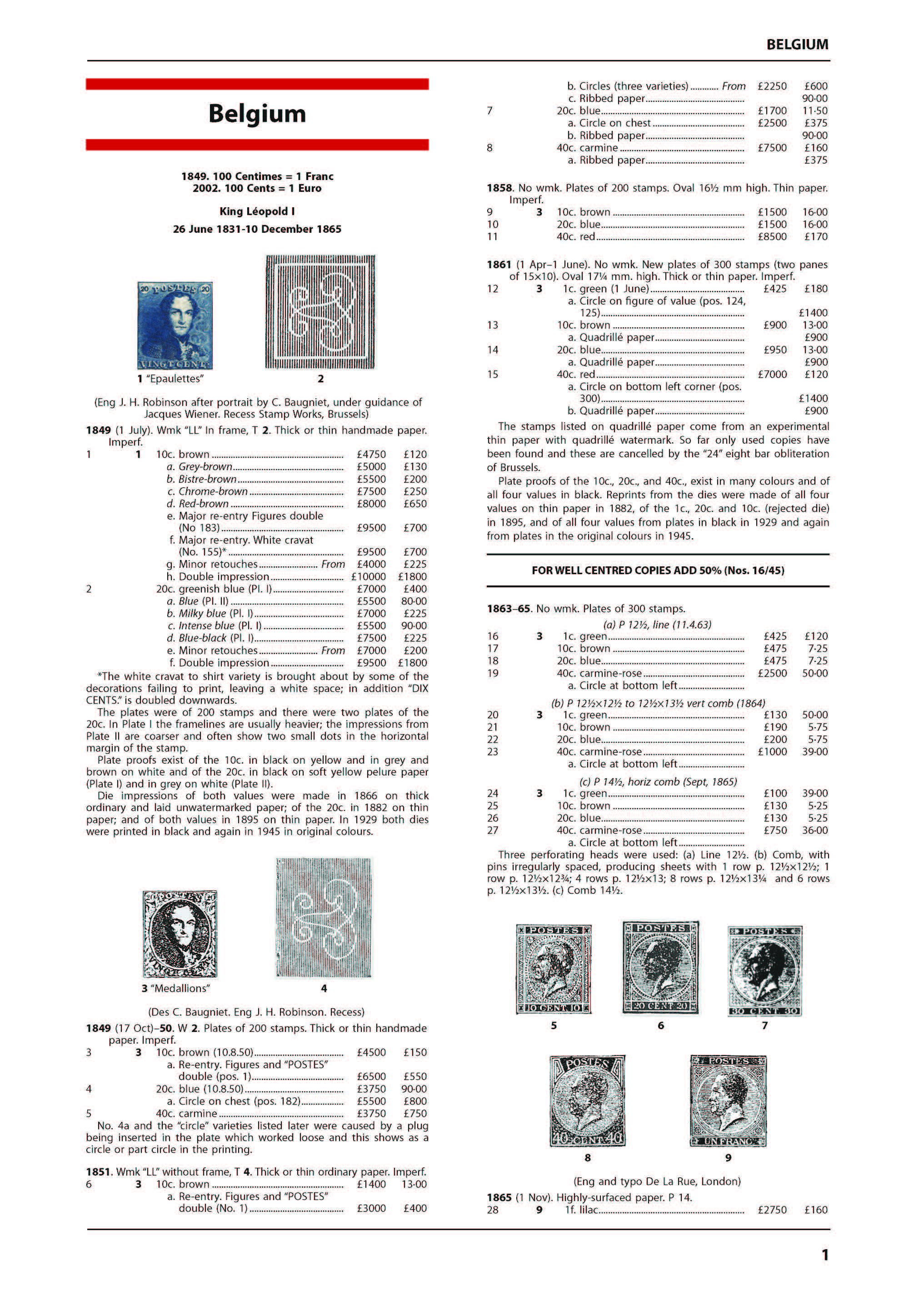 Belgium Stamp Catalogue 1st Edition
