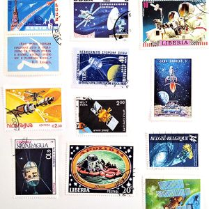 A sample of space themed stamps