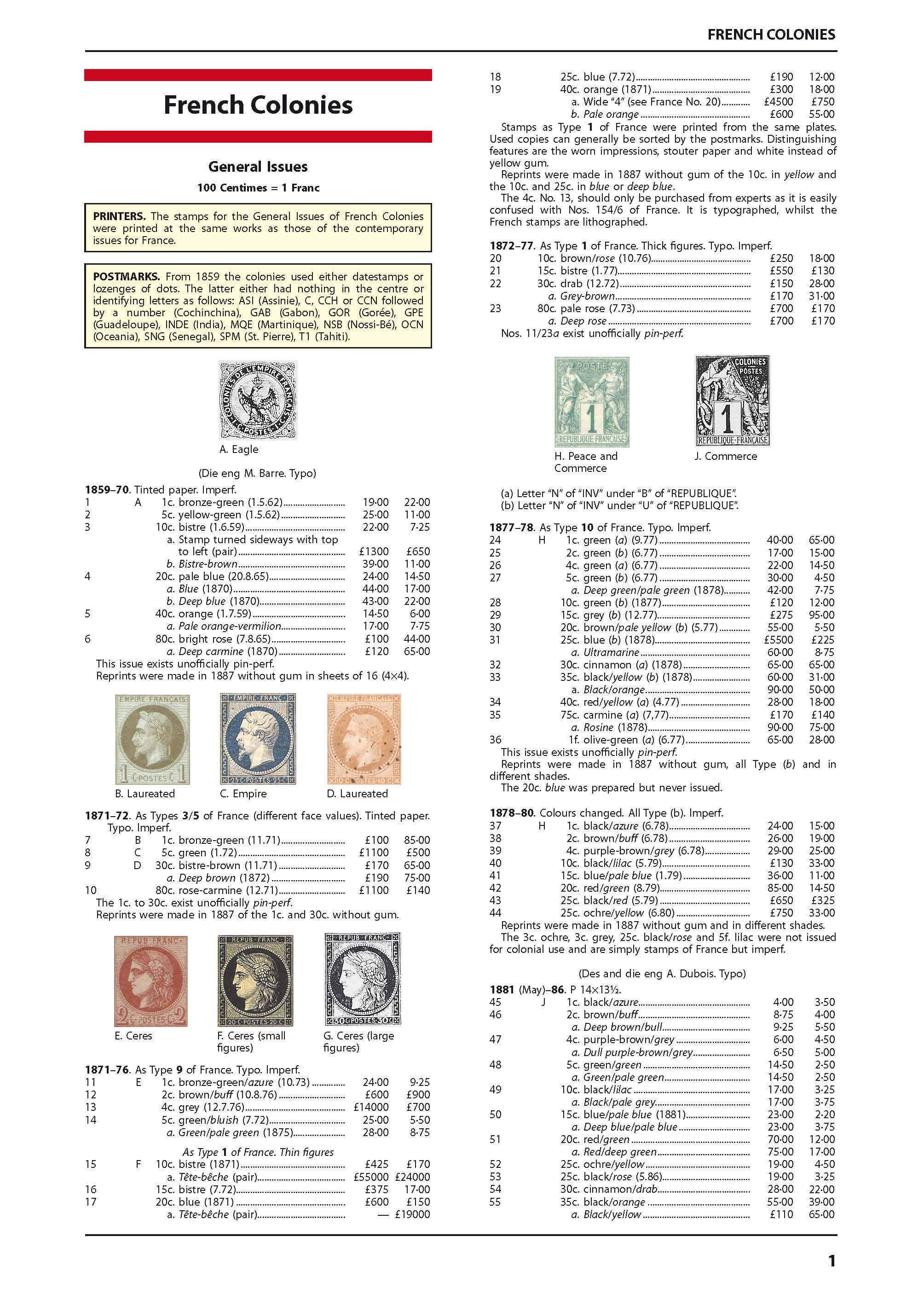 French Colonies Stamp Catalogue 1st Edition